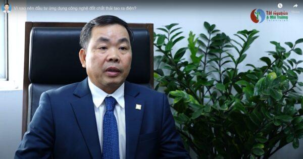 Ông Huân tham gia trả lời phỏng vấn về công nghệ điện rác của báo Tài nguyên & Môi trường